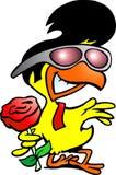拿着玫瑰的聪明的鸡 免版税库存照片