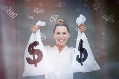 拿着现金的女实业家请求3d 免版税库存图片