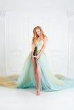 拿着瓶酒的华美的长的礼服的美丽的肉欲的白肤金发的妇女 女孩庆祝 提出产品 免版税库存照片
