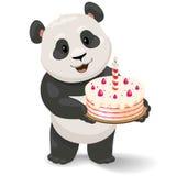 拿着生日蛋糕的熊猫 传染媒介与简单的梯度的剪贴美术例证 免版税库存图片