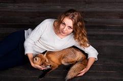 拿着由一个人受损伤并且在她和现在生活之前抢救作为以前的一个野生狐狸动物的一个年轻美丽的女孩 库存图片