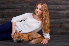 拿着由一个人受损伤并且在她和现在生活之前抢救作为以前的一个野生狐狸动物的一个年轻美丽的女孩 免版税库存图片