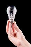 拿着电灯泡的手被隔绝在黑色 库存图片