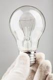 拿着电灯泡 免版税库存照片