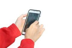 拿着电话片剂接触计算机小配件的查出的妇女现有量 免版税图库摄影