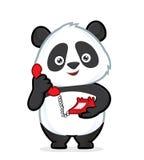 拿着电话的熊猫 库存图片