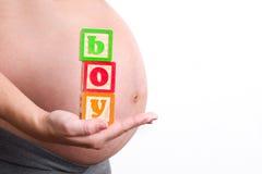 拿着男孩世界的孕妇 免版税图库摄影