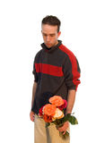 拿着男性花瓶的花 图库摄影