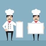 拿着白色横幅的厨师字符 库存照片