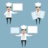 拿着白色横幅的厨师字符 免版税库存照片