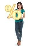 拿着百分号的可爱的妇女的图片 免版税库存图片