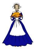 拿着盘子与的传统服装的妇女 向量例证