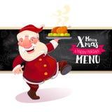 拿着盘用火鸡的圣诞老人 免版税图库摄影