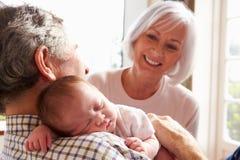 拿着睡觉的新出生的小孙女的祖父母 免版税图库摄影