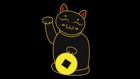 拿着硬币和挥动爪子的第2动画片日本猫maneki neko,祝愿爆发圈4k录影 影视素材