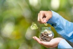 拿着硬币的商人手在存钱罐中为存金钱 投资和挽救概念 绿色自然背景和拷贝 免版税库存图片