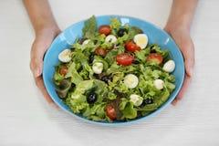 拿着碗用绿色莴苣沙拉的女性手 免版税库存图片