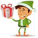 拿着礼品的圣诞节矮子 库存图片