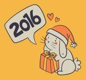 拿着礼物和祝愿新年快乐的手拉的兔宝宝 皇族释放例证