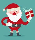 拿着礼物的逗人喜爱的圣诞老人 库存例证