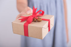 拿着礼物盒的妇女手给圣诞节或新年 库存图片
