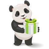拿着礼物盒的熊猫 传染媒介与简单的梯度的剪贴美术例证 免版税库存图片