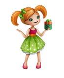 拿着礼物盒,被隔绝的例证的绿色礼服的红头发人女孩 免版税库存照片