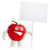 拿着空插件的蕃茄吉祥人 免版税库存图片