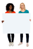 拿着空白广告牌的二个少妇 免版税图库摄影