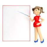 3d拿着空白的委员会和把手指指向的回报妇女它在与反射的白色背景 库存图片