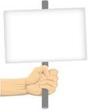 拿着空白的委员会的手 库存照片