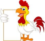 拿着空白的标志的愉快的动画片鸡 库存照片