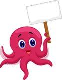拿着空白的标志的章鱼动画片 库存照片