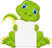 拿着空白的标志的逗人喜爱的恐龙动画片 免版税库存图片