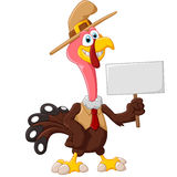 拿着空白的标志的逗人喜爱的火鸡动画片 免版税图库摄影