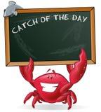 拿着空白的标志的逗人喜爱的螃蟹 免版税库存图片