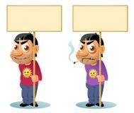 拿着空白的横幅的微笑的人 拿着空白的横幅的抽烟的人 免版税图库摄影