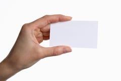 拿着空白的白色名片的年轻女商人画象  库存照片