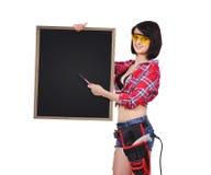 拿着空白的黑板的妇女 库存图片