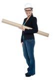拿着站点图纸的有经验的女性建筑师 免版税库存图片