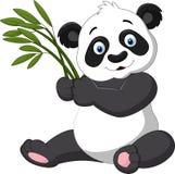 拿着竹子的逗人喜爱的熊猫 皇族释放例证