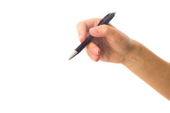 拿着笔的妇女的现有量 免版税图库摄影