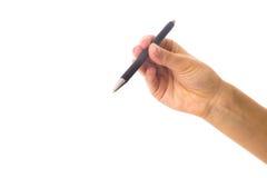 拿着笔的妇女的现有量 库存照片