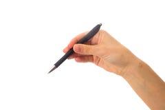 拿着笔的妇女的现有量 库存图片