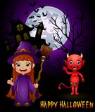 拿着笤帚和红魔被困扰的城堡背景的小的巫婆动画片 免版税库存照片