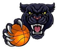 拿着篮子球吉祥人的黑豹组织 库存图片