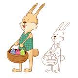 拿着篮子的复活节兔子兔子有很多鸡蛋 库存图片