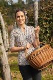 拿着篮子的妇女有很多葡萄 免版税库存照片