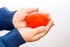 拿着红色复活节彩蛋的孩子手 图库摄影