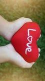 拿着红色心脏的女孩手在的绿草写爱字词 库存照片